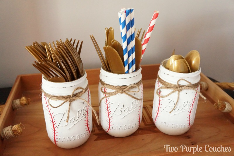 Mason Jars Painted like Baseballs
