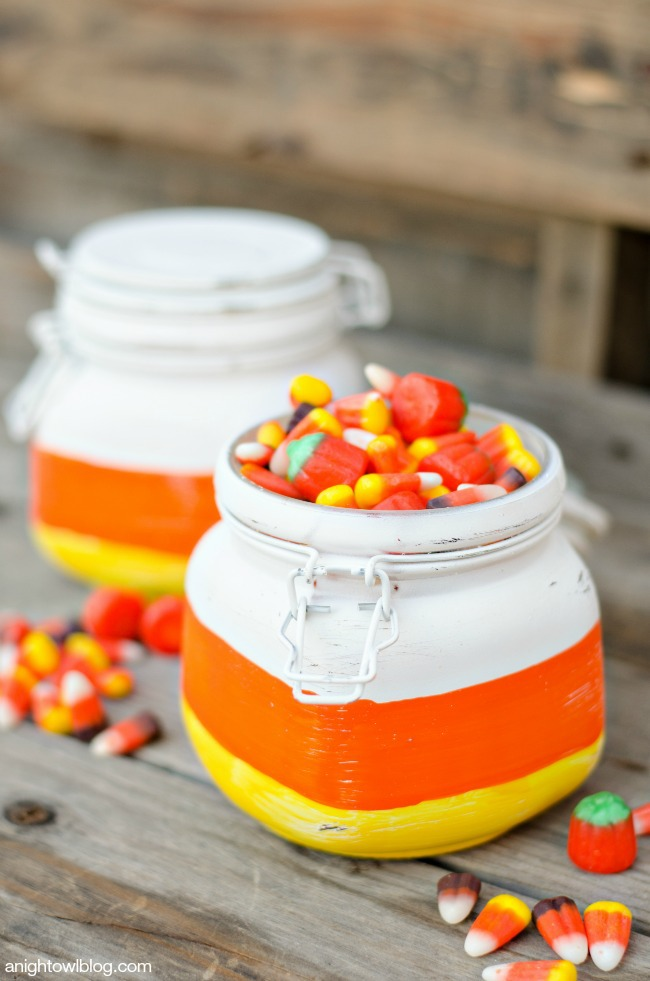 Mason Jars painted like Candy Corn