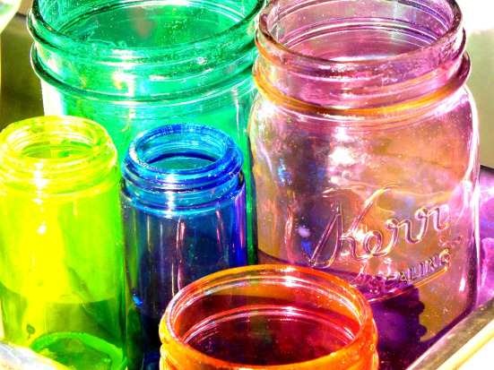 Mason jars painted with glue and food coloring