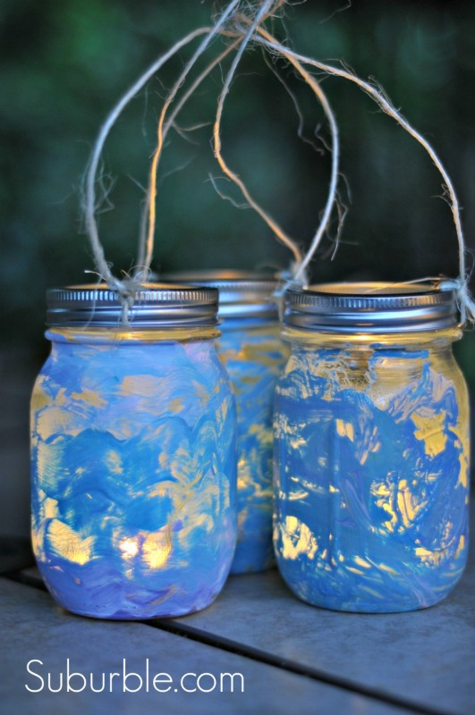Painted Mason Jar Lantern DIY