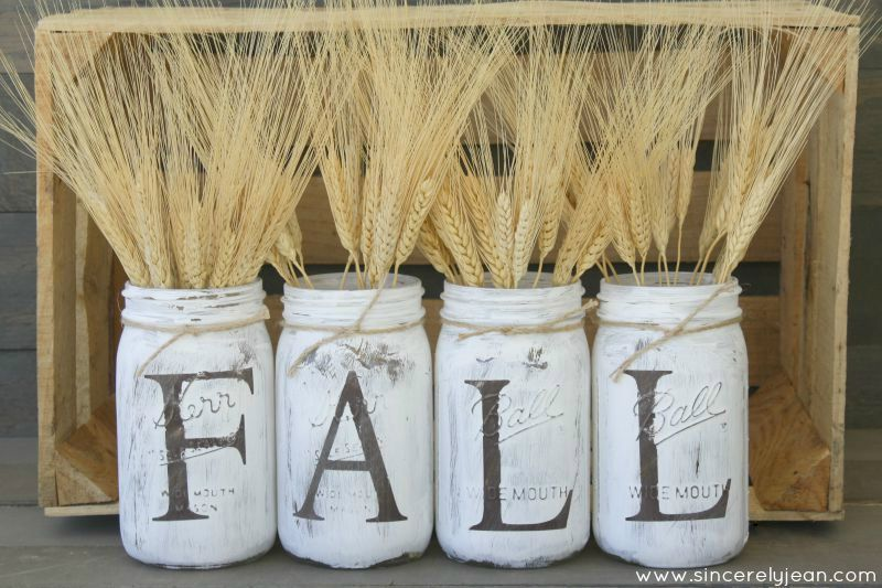 Rustic Mason Jar Painted for Fall