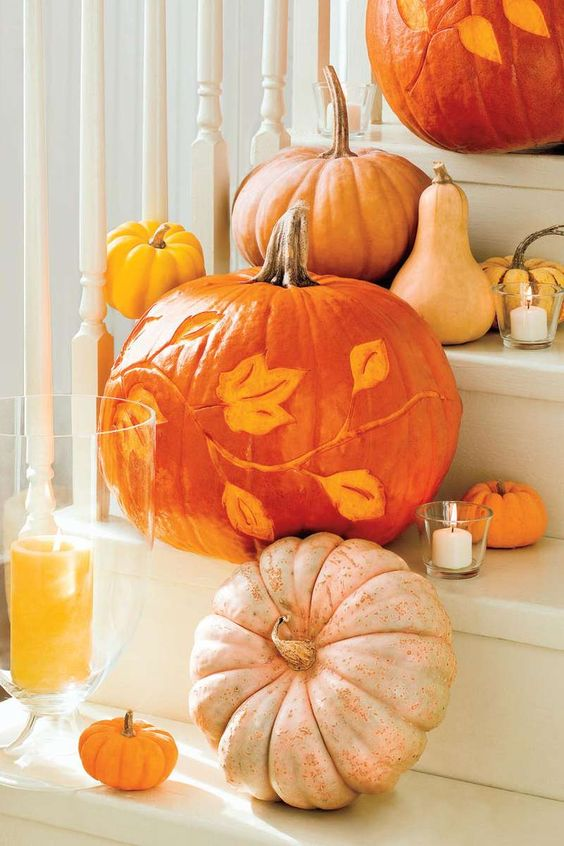 Simple Halloween Pumpkin Etched Designs