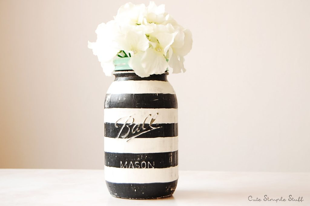 Striped Vintage Mason Jar Paint Video Tutorial