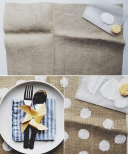 Burlap Placemats with Polka Dots
