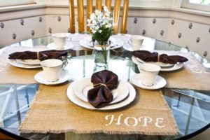 Embroidered Burlap Placemats