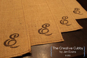 Monogram Burlap Placemat Ideas
