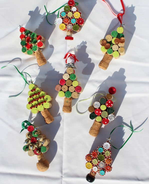 wine cork ornaments ideas for christmas - Christmas Tree Ornaments To Make