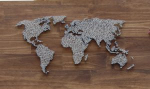 World Map String Art Design