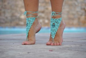 Beaded Crochet Barefoot Sandal
