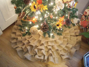 Burlap Christmas Tree Skirt Ruffled