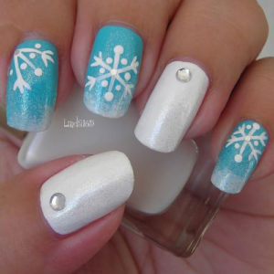 25 amazing diy snowflake nail art designs with instructions christmas snowflake nail art prinsesfo Images