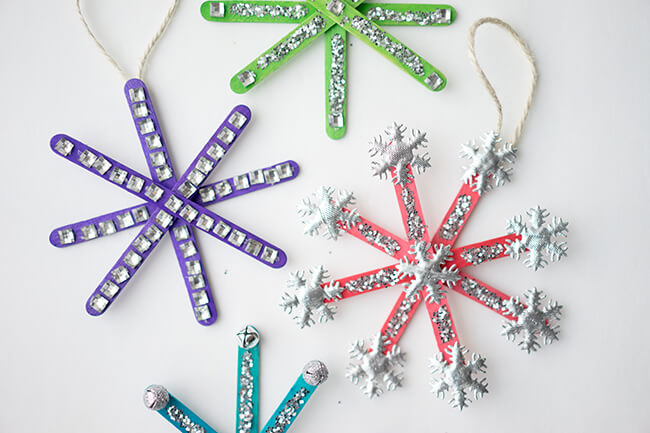29 DIY Popsicle Stick Snowflakes