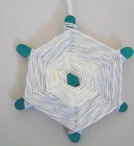 Popsicle Stick Yarn Snowflake