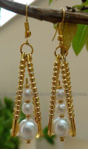 Safety Pin Pearl Earrings