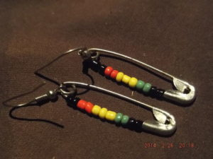 Safety Pins Earring Beaded