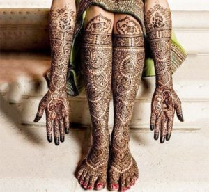 Bridal Mehndi Design for Full Hands and Legs