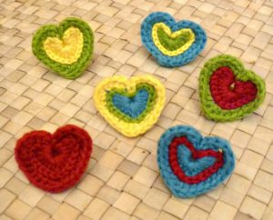 Heart Shaped Crochet Rings