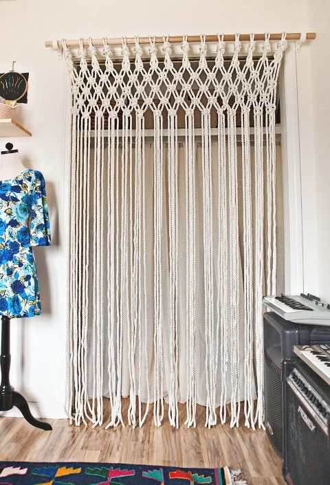 12 Diy Macram Curtains Patterns Macrame Door Curtain