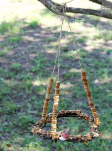 DIY Cheerio Bird Feeders