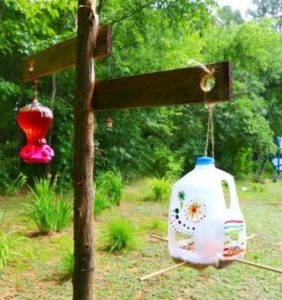Bird Feeder of Milk Jug