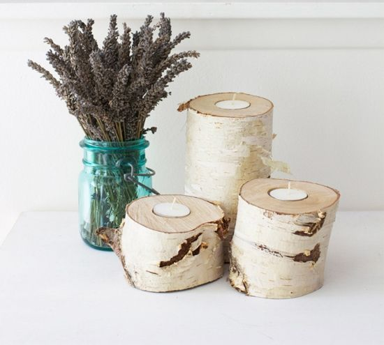 20 Diy Log Candle Holders How To S Amp Ideas
