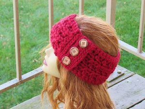 Crochet Ear Warmers with Buttons