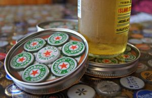 Mason Jar Bottle Cap Coasters