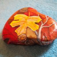 Painted Rock Leaf Autumn