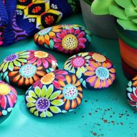 Painted Rocks with Flowers Pattern