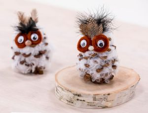 Pine Cone Owls using Cotton