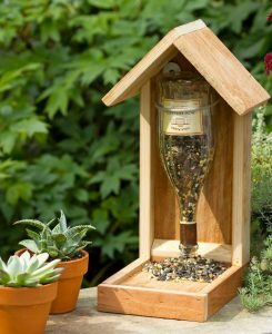Upside Down Wine Bottle Bird Feeder