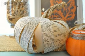 Book Pages Pumpkin Craft