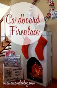 Cardboard Fireplace for Christmas