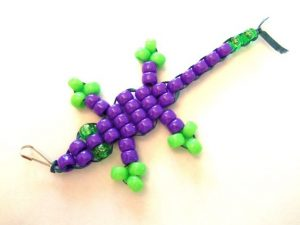 Gecko Beaded Keychain