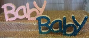 Glitter Styrofoam Letters for Baby Shower