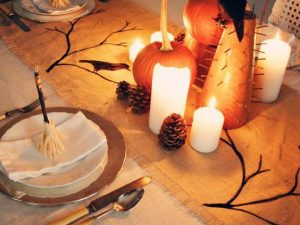 Painted Halloween Burlap Table Runner