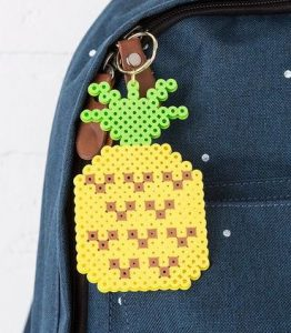 Pineapple Perler Beaded Keychain