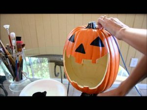 Carving Styrofoam Pumpkin