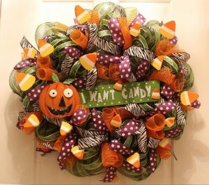 Halloween Mesh Wreath for Front Door