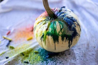 Melted Crayon White Pumpkin