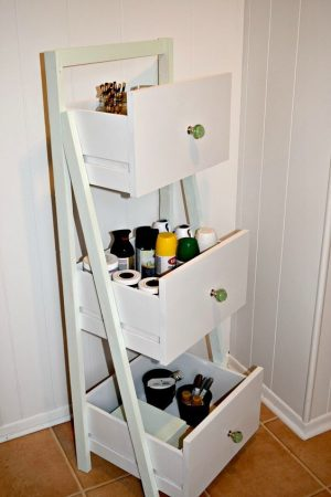 Ladder Bookshelf with Drawers