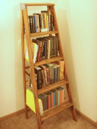 Rustic Bookshelf Ladder Ideas