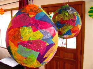 Paper Mache Eggs with Balloons