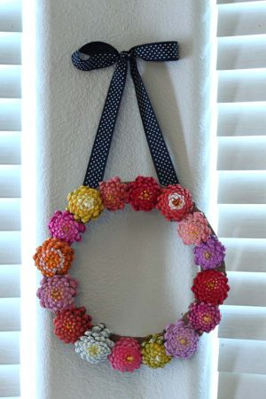 Painted Pine Cone Flower Wreath