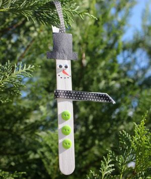 Ice cream Stick Snowman Ornament