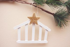 Manger Ornament with Popsicle Sticks