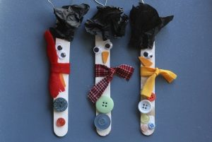 Popsicle Stick Snowman Ornaments