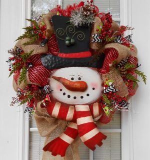 Primitive Snowman Wreath