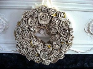 Newspaper Flower Wreath