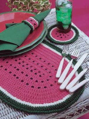 Crochet Placemat in Watermelon Shape